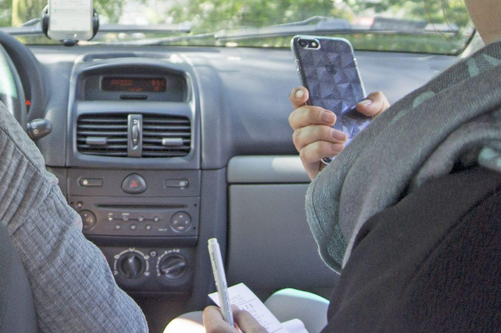 in car usability testing with phone