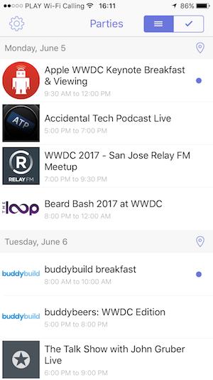 WWDC 2017 parties app